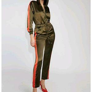 Gabrielle Union Piped Half Zip Jumpsuit